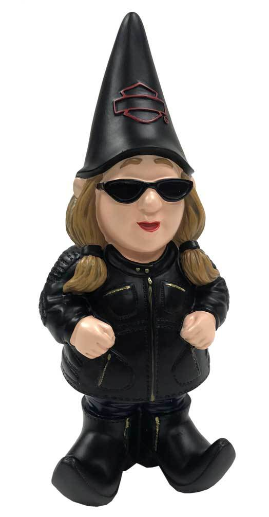 Lady Biker Themed Garden Gnome