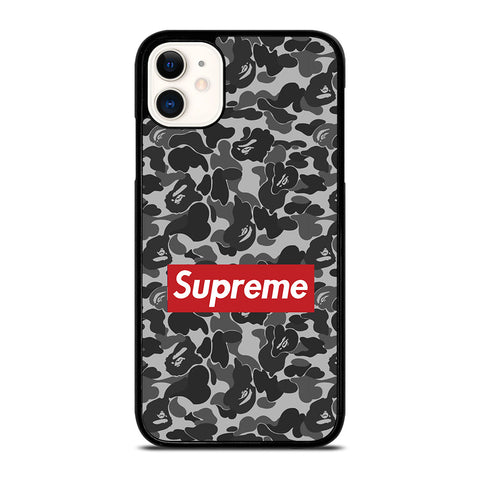 CAMO BAPE SUPREME GREY iPhone 11 Case