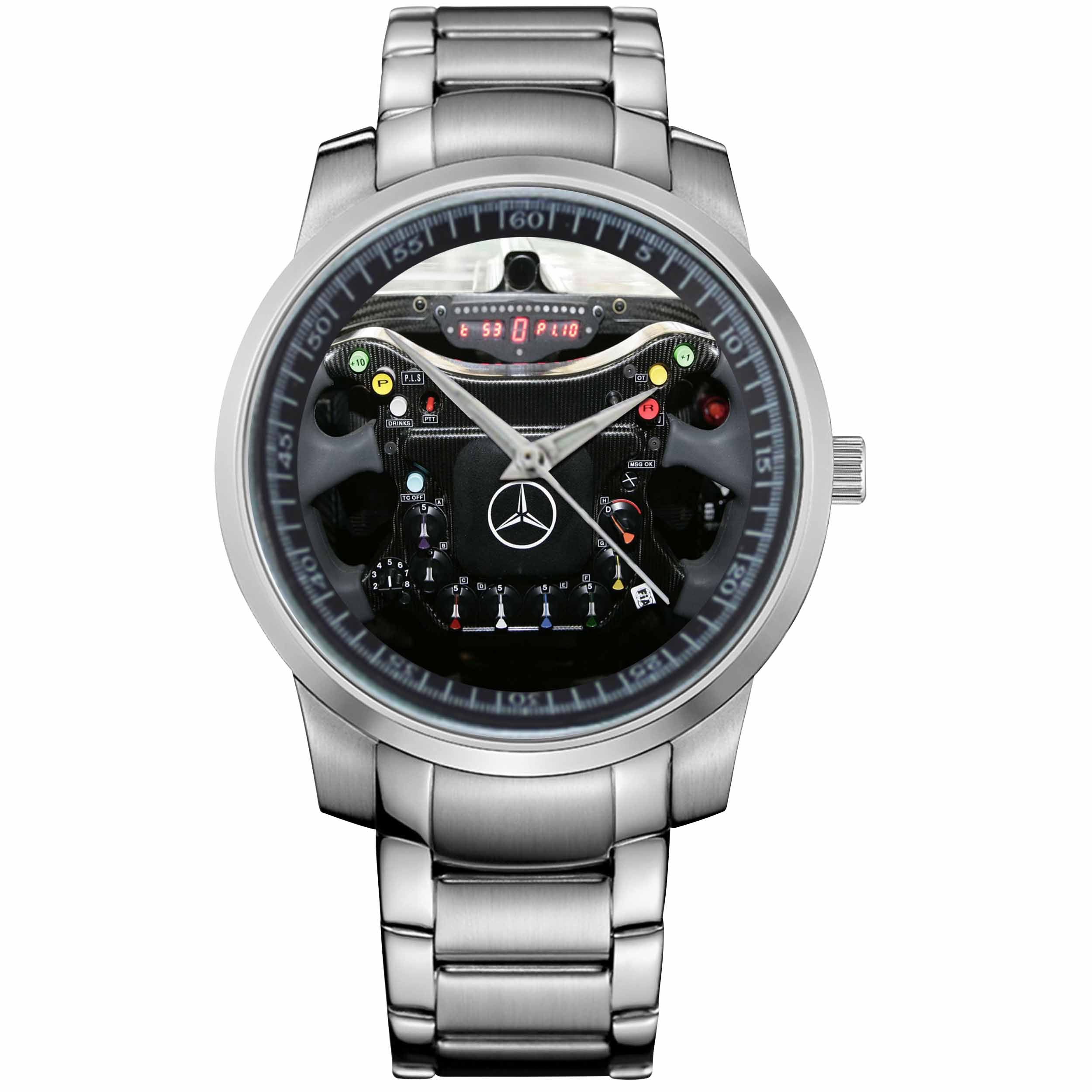 Mercedes Benz Formula 1 Steering Metal Watch Casefine