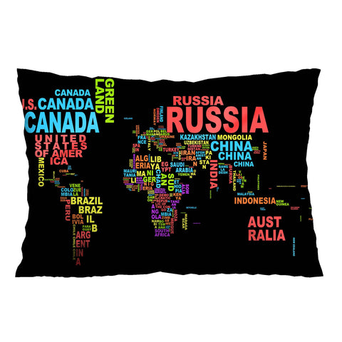 WORLD MAP COUNTRY NAME 1 Pillow Case Cover