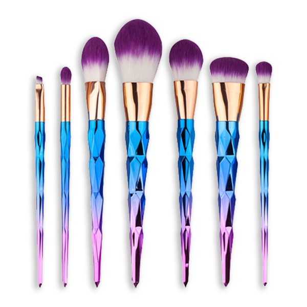 Ombre Unicorn 7 Piece Makeup Brush Set