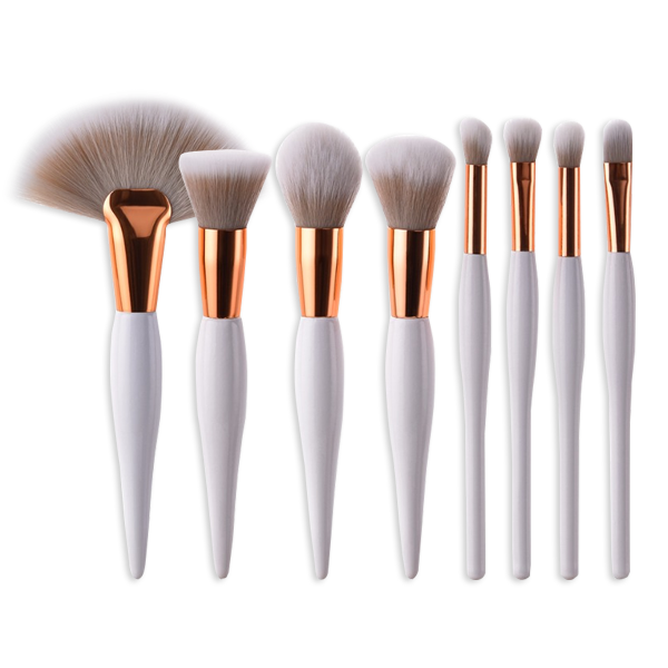 Rose Gold & White 8 Piece Makeup Brush Set - BrushBabe.com