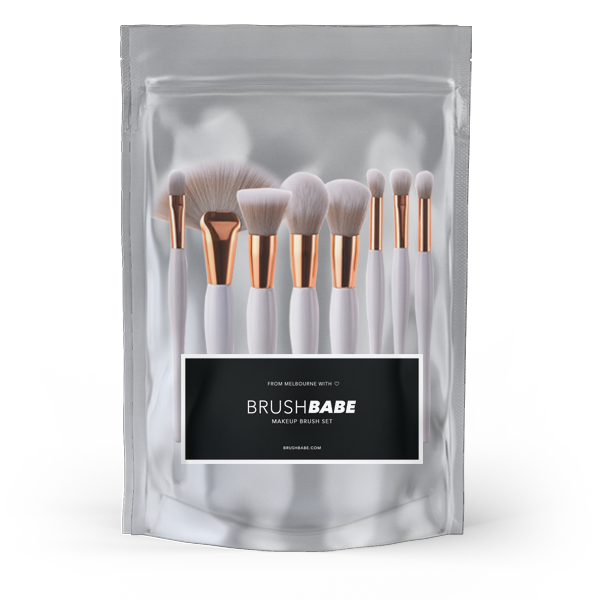 Rose Gold & White 8 Piece Makeup Brush Set
