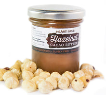 CACAO HAZELNUT BUTTER by HEARTIGRUB. RAW CACAO, TURKISH HAZELNUTS, HINT OF HONEY. THE BETTER HAZELNUT SPREAD. By HEARTIGRUB