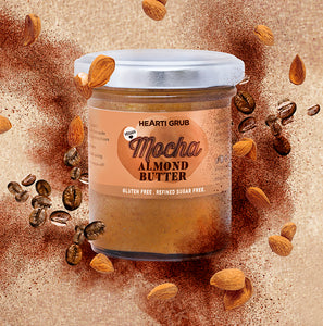 MOCHA. ALMOND BUTTER. VEGAN. HEARTIGRUB. MADE IN UAE