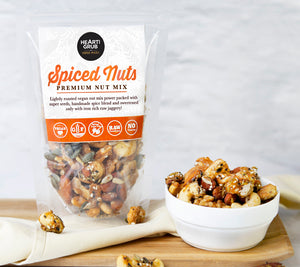 SPICED NUTS. PREMIUM NUT MIX. VEGAN NUT MIX. HEARTIGRUB