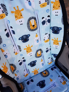 Pram Liner - Animal Life light blue