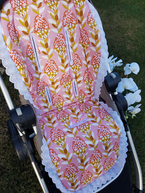 LACE TRIM Pram Liner (YOU PICK THE FABRIC)