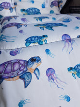 Pram Liner - Watercolour Turtle with Jelly Fish