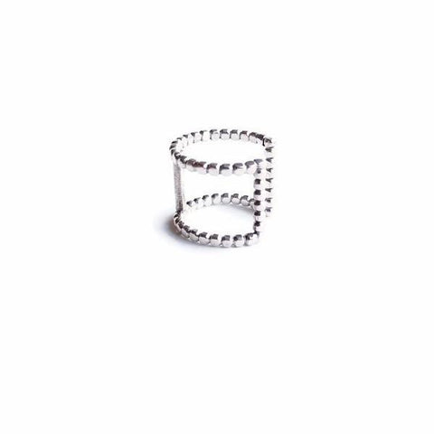 Wide Double Beaded Cuff Ring1