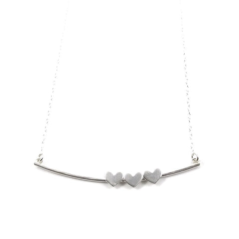 Floating Hearts Arc Necklace