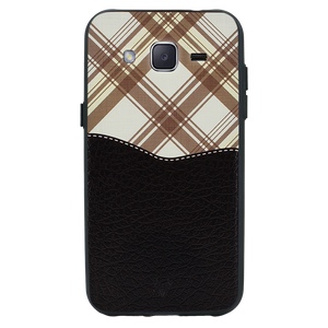 Black Leather Chequered Case For Galaxy J2 2016