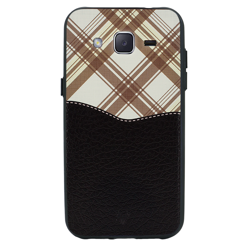 Black Leather Chequered Case For Galaxy J2 Pro