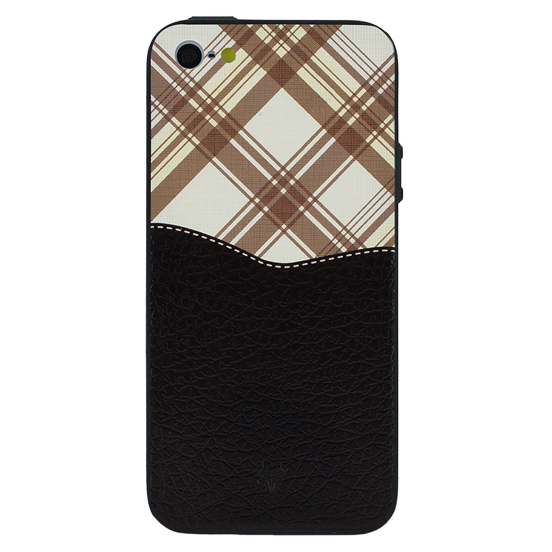 Black Leather Chequered Case For iPhone 5s