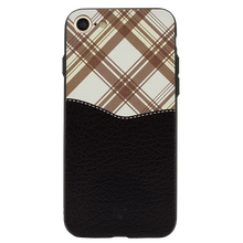 Black Leather Chequered Case For iPhone 8