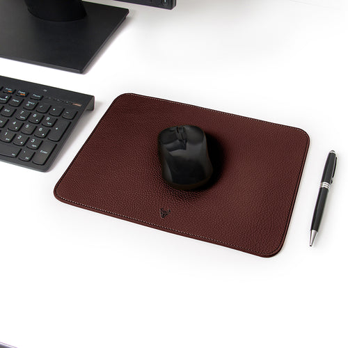 Chocolate Brown Genuine Leather Mouse Pad