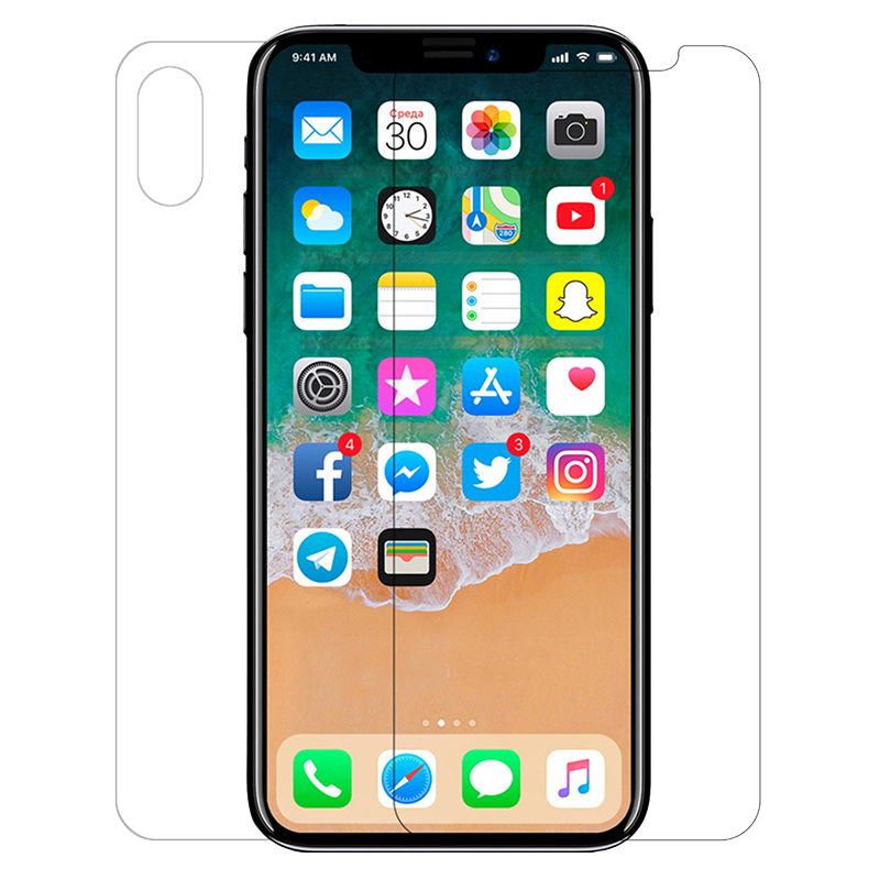 Screen & Back Hammer Tempered Glass Film For iPhone X