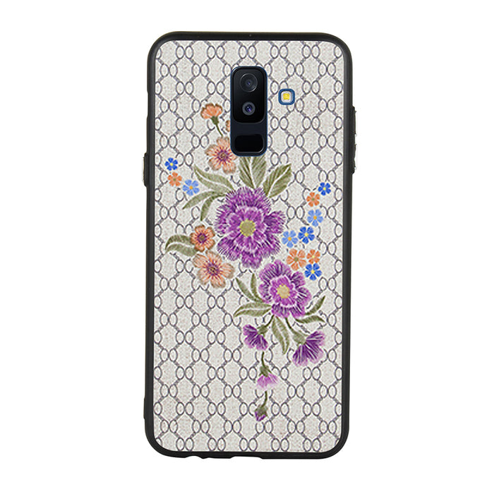 Embroidery Purple Daisy Case For Galaxy A6 Plus