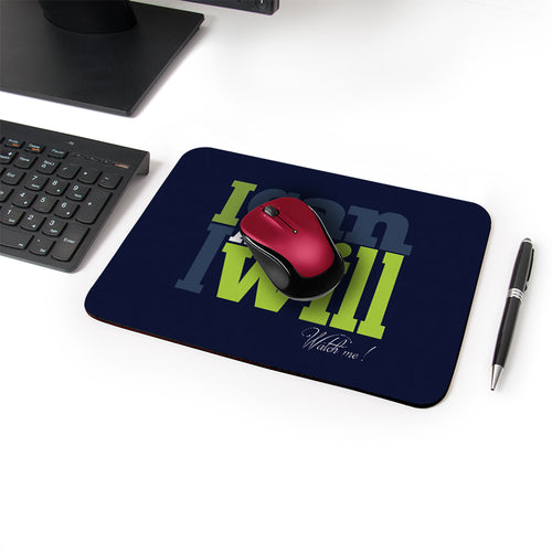 I Will Designer Leather Mouse Pad