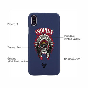 Midnight Blue Indian Tribal Premium Leather Designer Case For iPhone X
