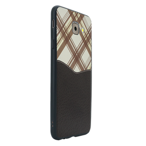 Black Leather Chequered Case For Galaxy J7 Max
