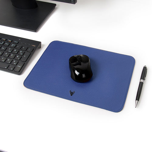 Midnight Blue Genuine Leather Mouse Pad