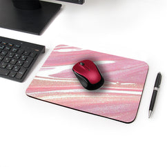 Pink Glitter Flow Designer Leather Mouse Pad