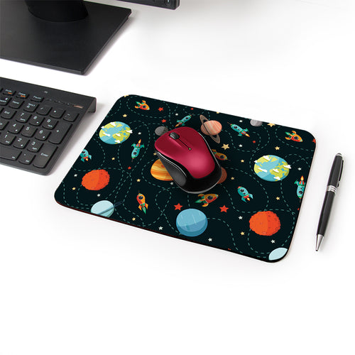 Planet Party Designer Leather Mouse Pad