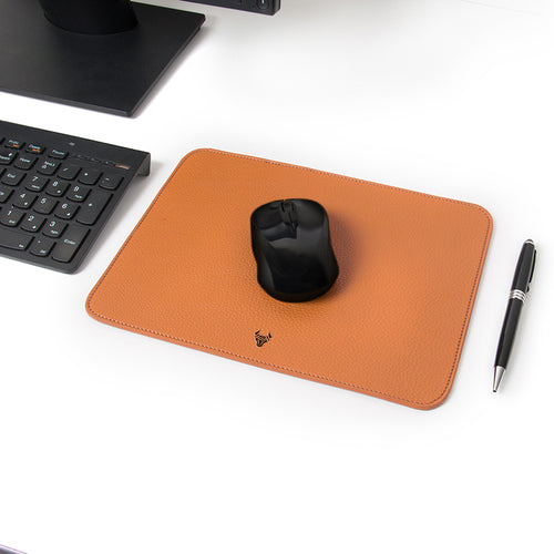 Tan Genuine Leather Mouse Pad