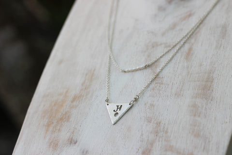 layered custom triangle necklace