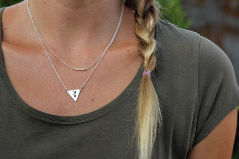 layered custom triangle necklace on