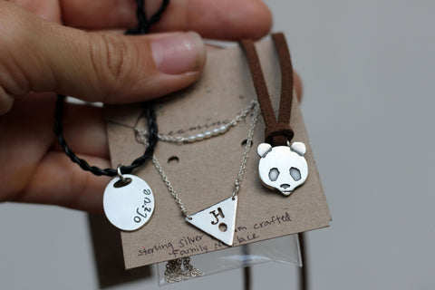 custom triangle panda and olive necklaces for sisters and mom