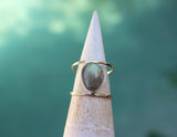 sterling silver labradorite double band ring