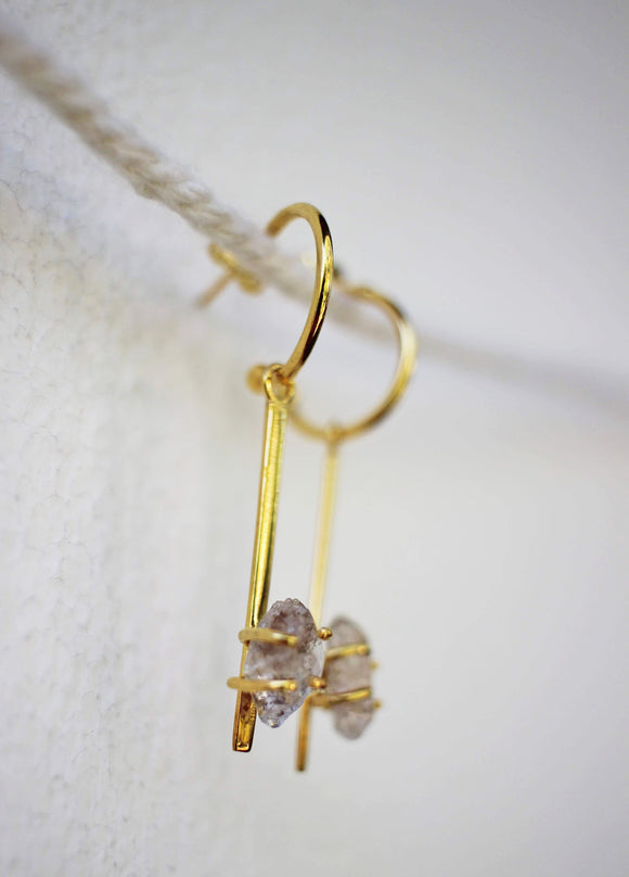 Crystal hoop dangle earrings in gold
