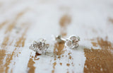 crystal quartz post earrings silver