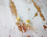 crystal quartz post earrings gold