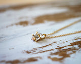 simple short crystal necklace in gold