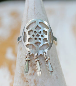 Handcrafted Dreamcatcher Ring with Intricate Detail