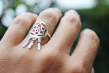 Rebellious Dreamer Dreamcatcher Ring Handcrafted On a Hand