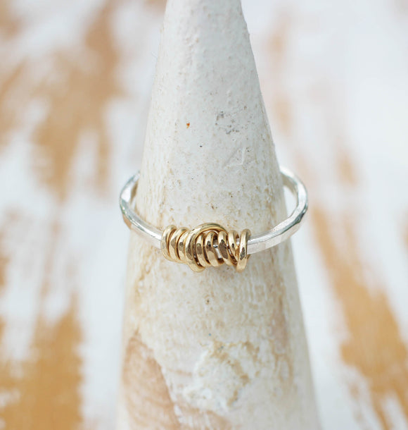 Gold Wire Wrapped and Sterling Silver Artisan Ring