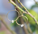 gold hoop earrings with crystal quartz