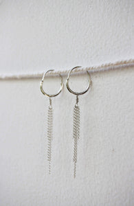 dangle hoop earrings silver