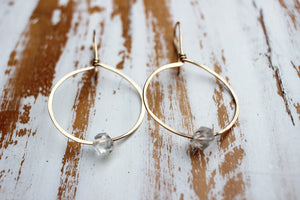 gold and herkimer diamond hoop earrings
