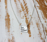 custom silver square quote necklace
