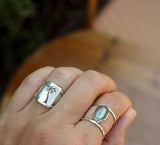 Sterling silver palm tree ring and labradorite ring