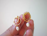 pearl dangle gold earrings double hoop