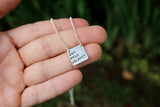 simple silver square personalized quote necklace