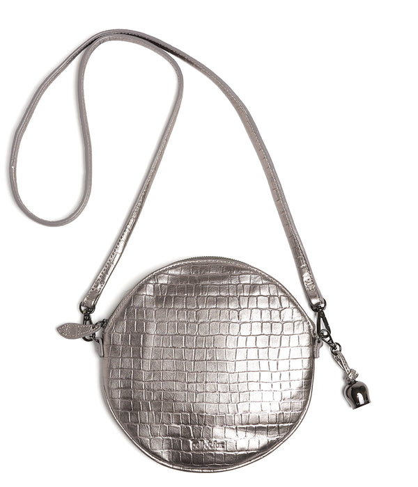 Bell & Fox Round Crossbody Pewter Croc