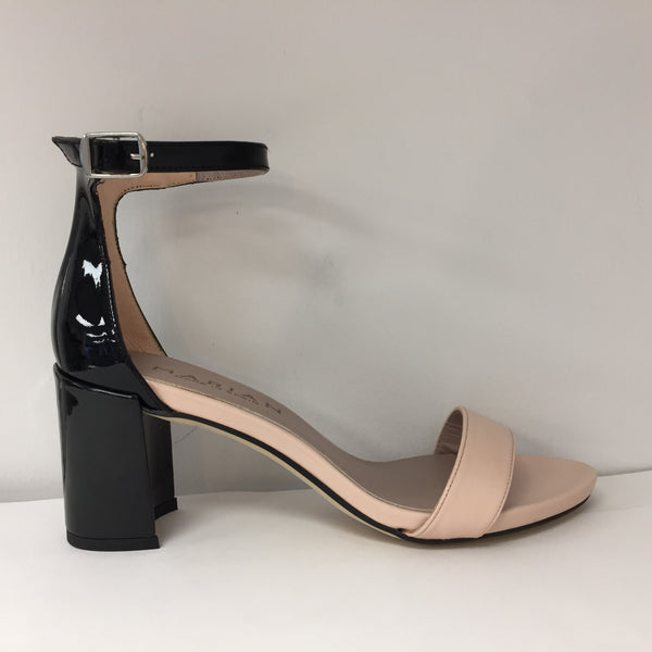 Marian Black Patent and Blush Sandal