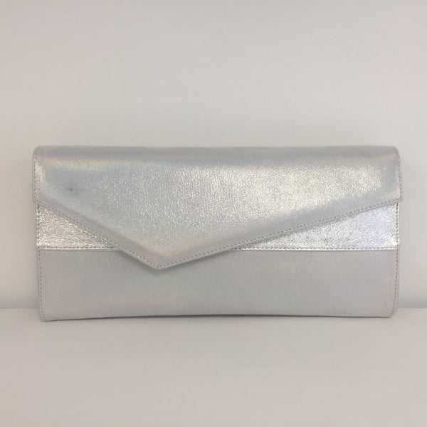 Marian Silver Leather Clutch Bag